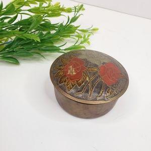Vintage Brass Floral Boho Jewelry Box